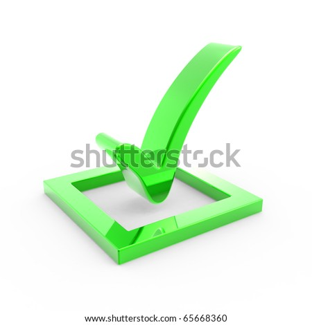 3D green check mark sign