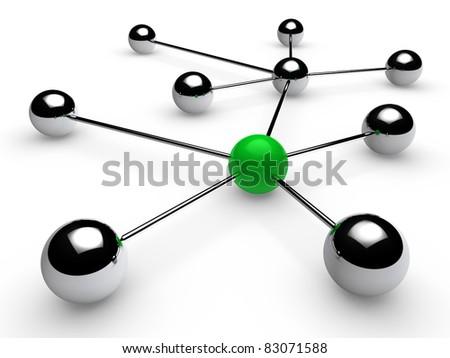 3d, green, chrome, ball, network, communication, white - stock photo
