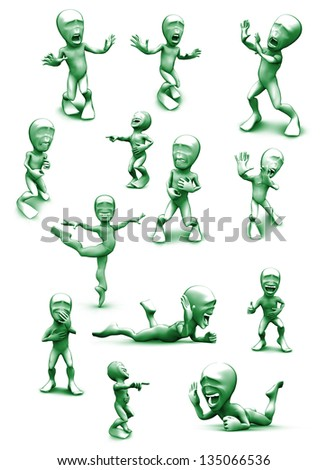 3d green color  little person who very frightened, trembling in fear and very loud laughs