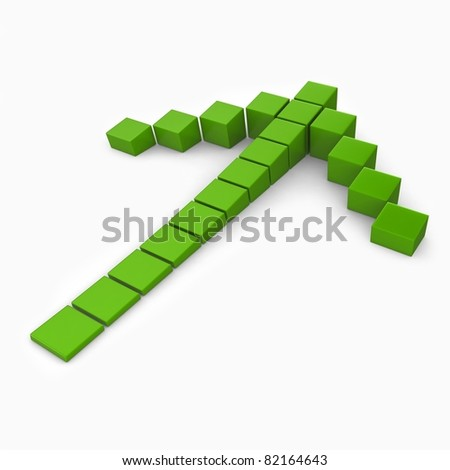 3d green cube arrow going up isolated on white background - stock photo