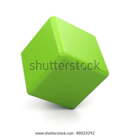 3d green cube isolated.