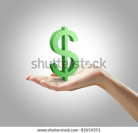 3d Green Dollar Sign on a woman's hand