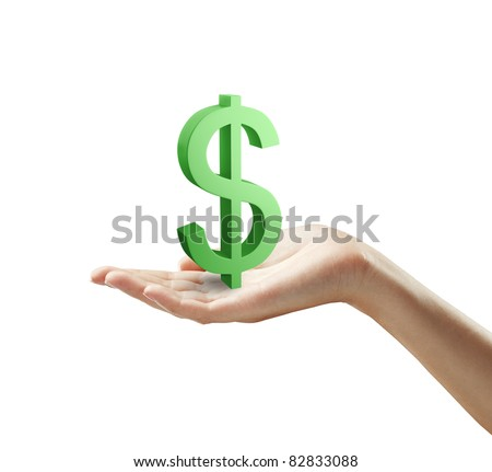 3d Green Dollar Sign on a woman's hand.Isolated on a white background - stock photo