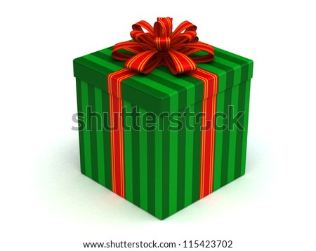 3D green Gift christmas box with red bow on the white - stock photo
