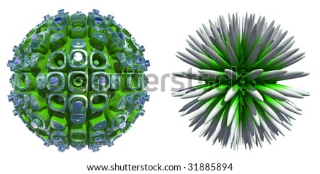 3d green glass and spiky spheres set or collection  isolated on white,ideal for 3D symbols or web buttons - stock photo