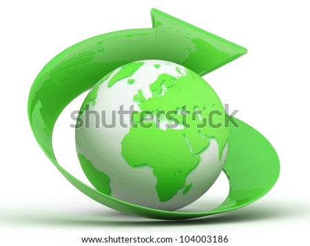 3d green globe with arrow