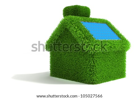 3d green grass house, ecology concept