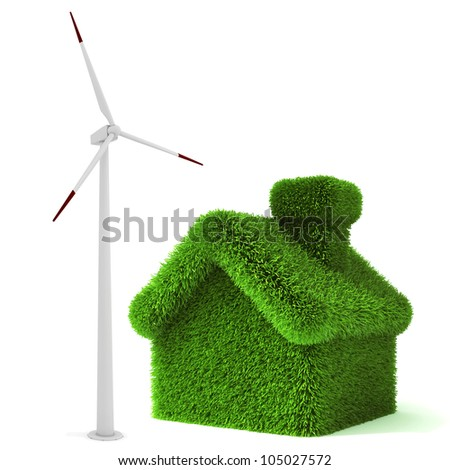 3d green grass house, ecology concept - stock photo