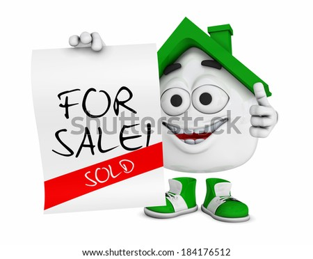 3d green house character concept - For sale / sold - stock photo