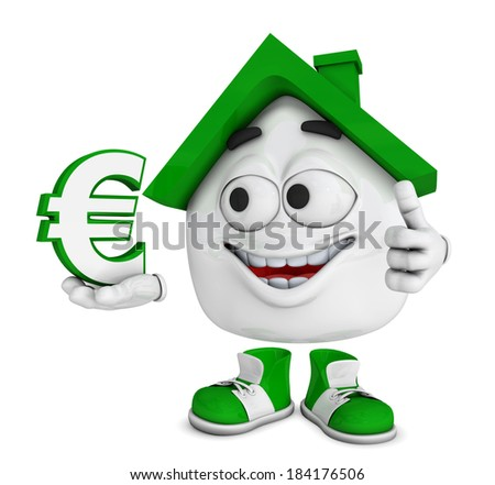 3d green house character concept - save money - euro