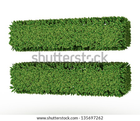 3D Green leaves Equal sign Symbol on White Background