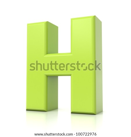 3D green letter collection - H - stock photo