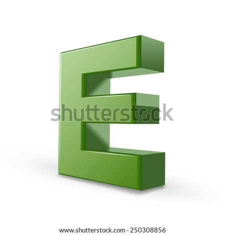 3d green letter E isolated on white background