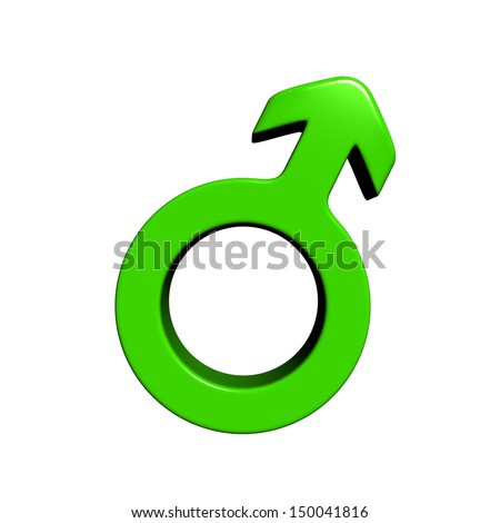 3d green male symbol - stock photo
