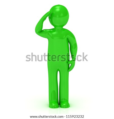 3D green man soldier salutes on white background