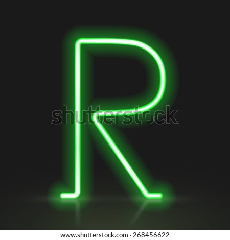 3d green neon light letter R isolated on black background - stock photo