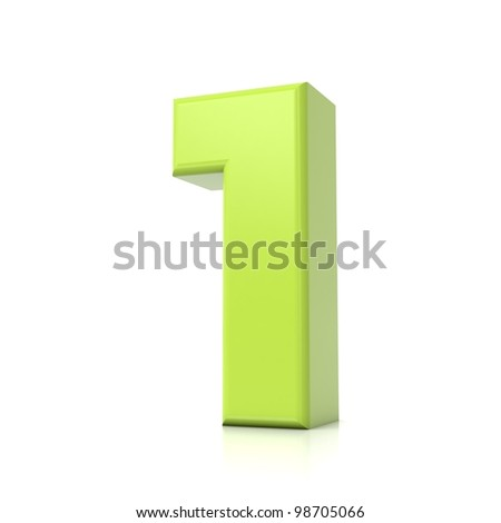 3D green number collection - 1 - stock photo