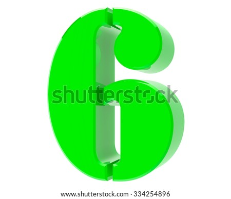 3d green number 6 on white background 3d rendering - stock photo