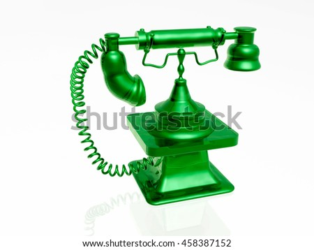 3d green phone on white background. - stock photo