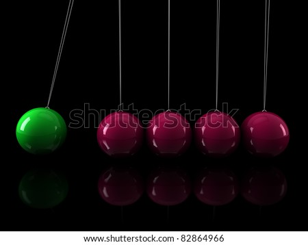 3d, green, pink, pendulum, chrome, network, black - stock photo