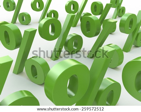 3D green signs percent - stock photo