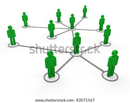 3d green social network community men team - stock photo