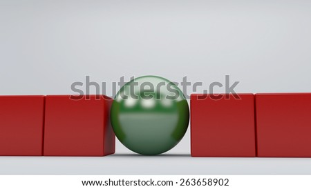 3d Green sphere among red cubes, standing out in the crowd concept - stock photo