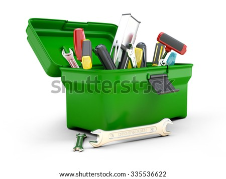 3d green toolbox open - stock photo