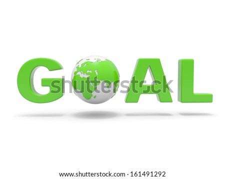 3d green word  GOAL with 3d globe replacing letter O - stock photo