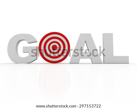 3d green word GOAL with 3d target replacing letter O - stock photo
