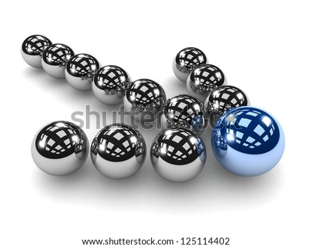 3d Grey arrow of the balls with the blue leader in front. On white background. Business and Sports concept - stock photo