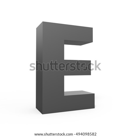3d grey left leaning alphabet E, 3D rendering graphic isolated white background