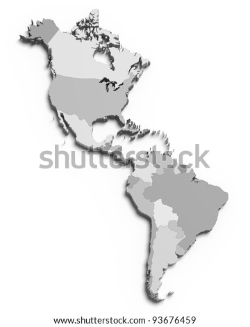 3d grey map of south and north american countries on white isolated