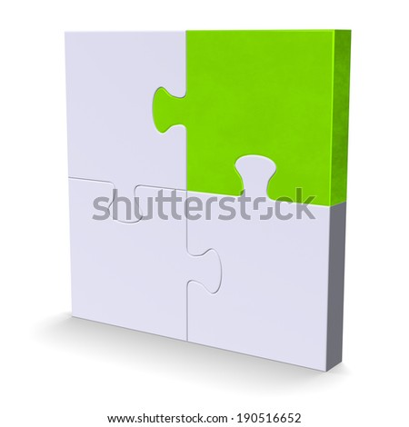 3d grey puzzle standing with one green piece isolated on white