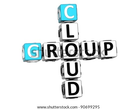 3D Group Cloud Crossword on white background - stock photo