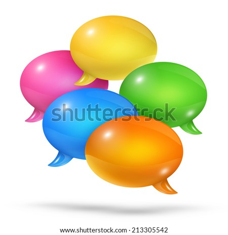 3D group of colored speech bubbles isolated on white - stock photo