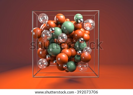 3d group of colorful glossy spheres in chrome wire cube. Bright orange and green plastic balls with transparent bubbles and metal spheres. Centered composition on orange background.  - stock photo