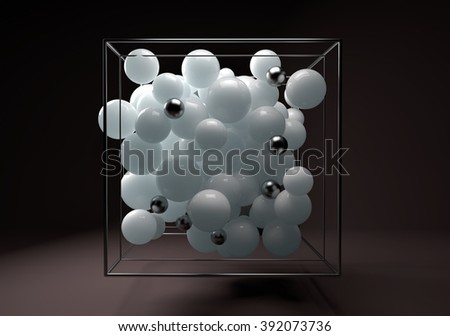 3d group of monochrome glossy spheres in chrome wire cube. White translucent plastic balls with transparent bubbles and metal spheres. Centered composition on dark brown background.   - stock photo