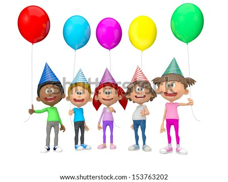 3D group of party kids celebrating a birthday - isolated over white  - stock photo