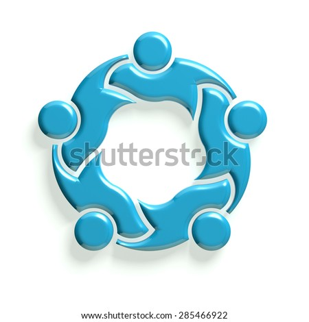 3D Group of people holding each other. Collaboration concept - stock photo