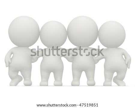 3D group of people hugging isolated over a white background