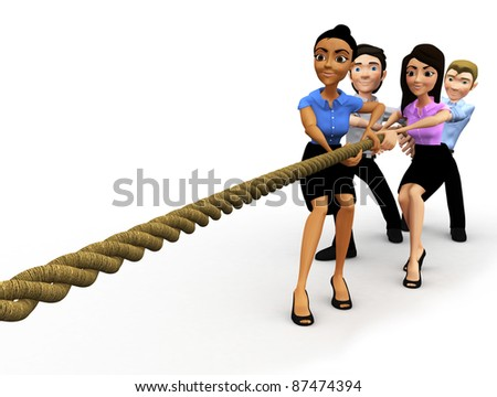 3D group pulling a rope in a business competition â?? isolated