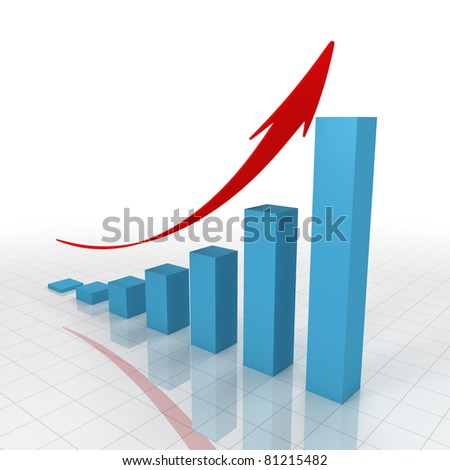 3D growing business graph - stock photo