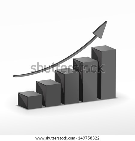 3D Growth bar. Business concept. Down arrow graph available in my portfolio. Raster version. - stock photo