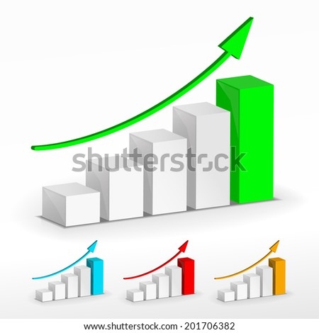 3D Growth bar graph. Business concept. - stock photo