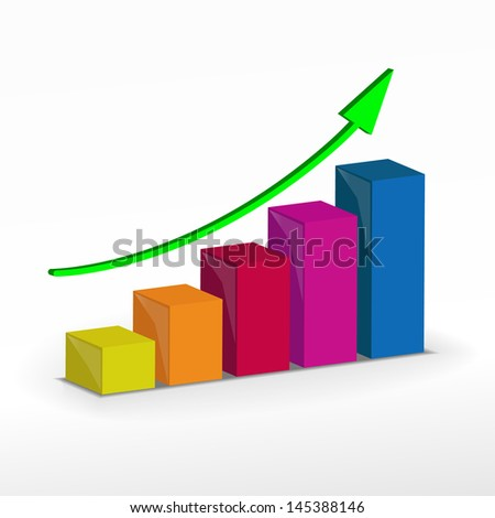 3D Growth bar graph. Business concept. Raster version. Vector version available in my portfolio - stock photo