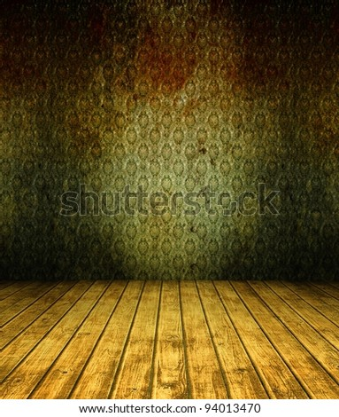 3d grunge wallpaper, green texture in empty interior - stock photo