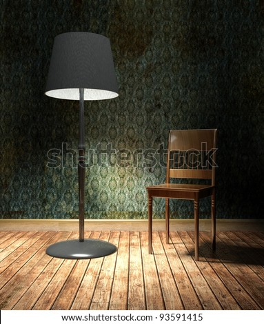 3d grunge wallpaper, green texture in empty interior with lamp and chair