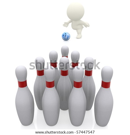 3D guy bowling - isolated over a white background - stock photo