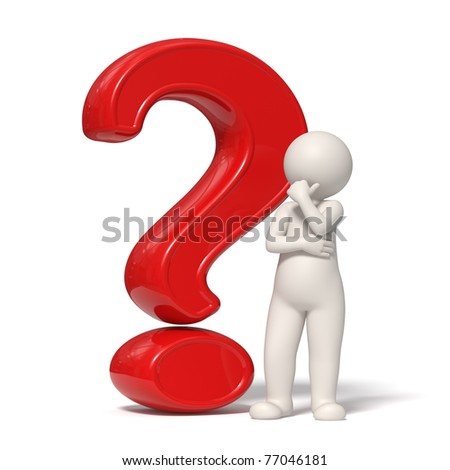 3d guy thinking in front of a big question mark - Isolated - stock photo